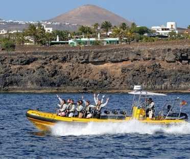 boat RIB in Lanzarote dolphins